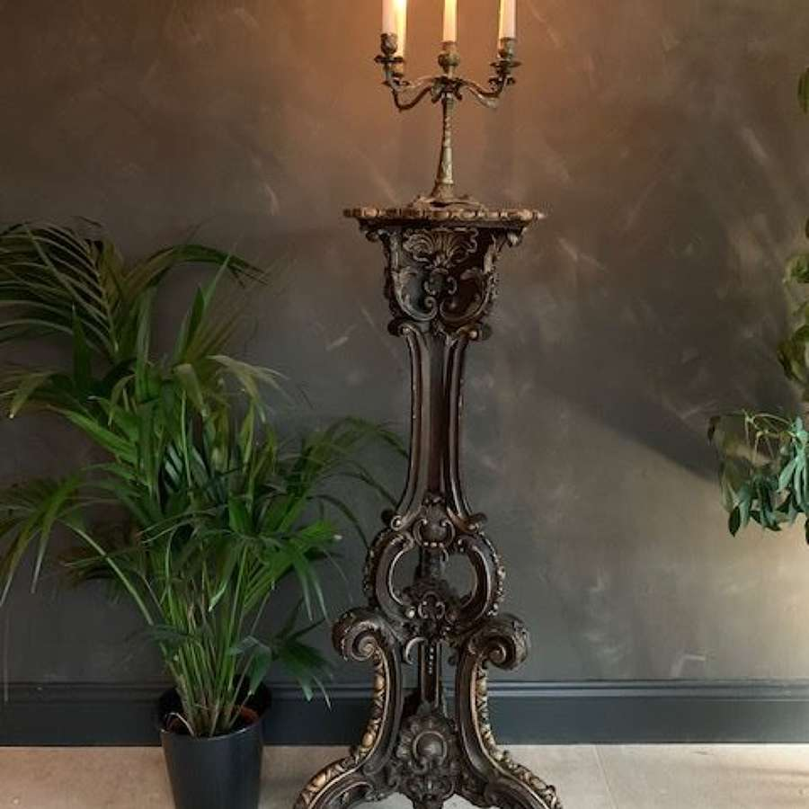 Large French antique carved wooden Rococo jardiniere plant stand