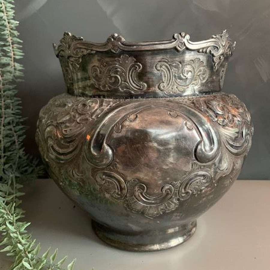 Beautiful silver plated ornate decorative Rococo style bowl or planter