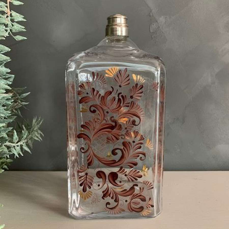 Delicate French hand painted glass liqueur bottle with silver lid