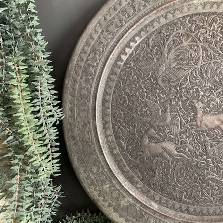 Highly decorative Indian silver metal offering plate