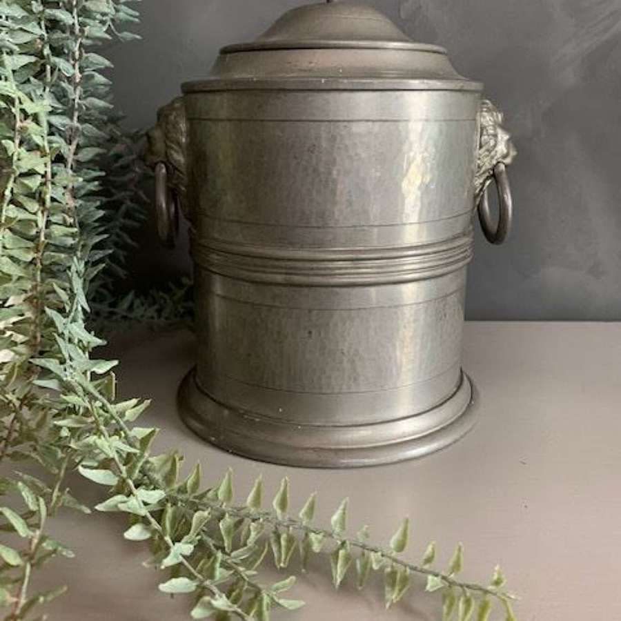 Antique pewter tea caddy with lion detail