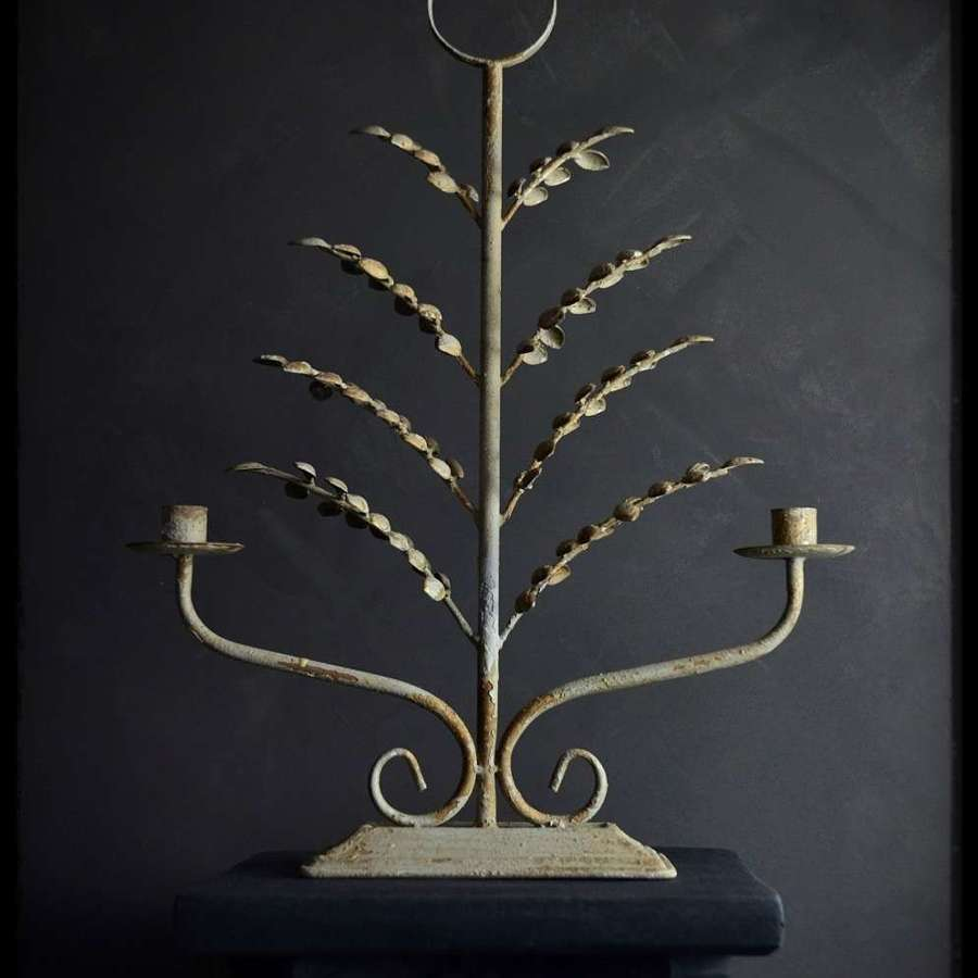 Rustic antique style dual-armed candelabra - 'The Vilia'